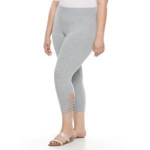 Plus Size French Laundry Cutout Keyhole Capri Leggings